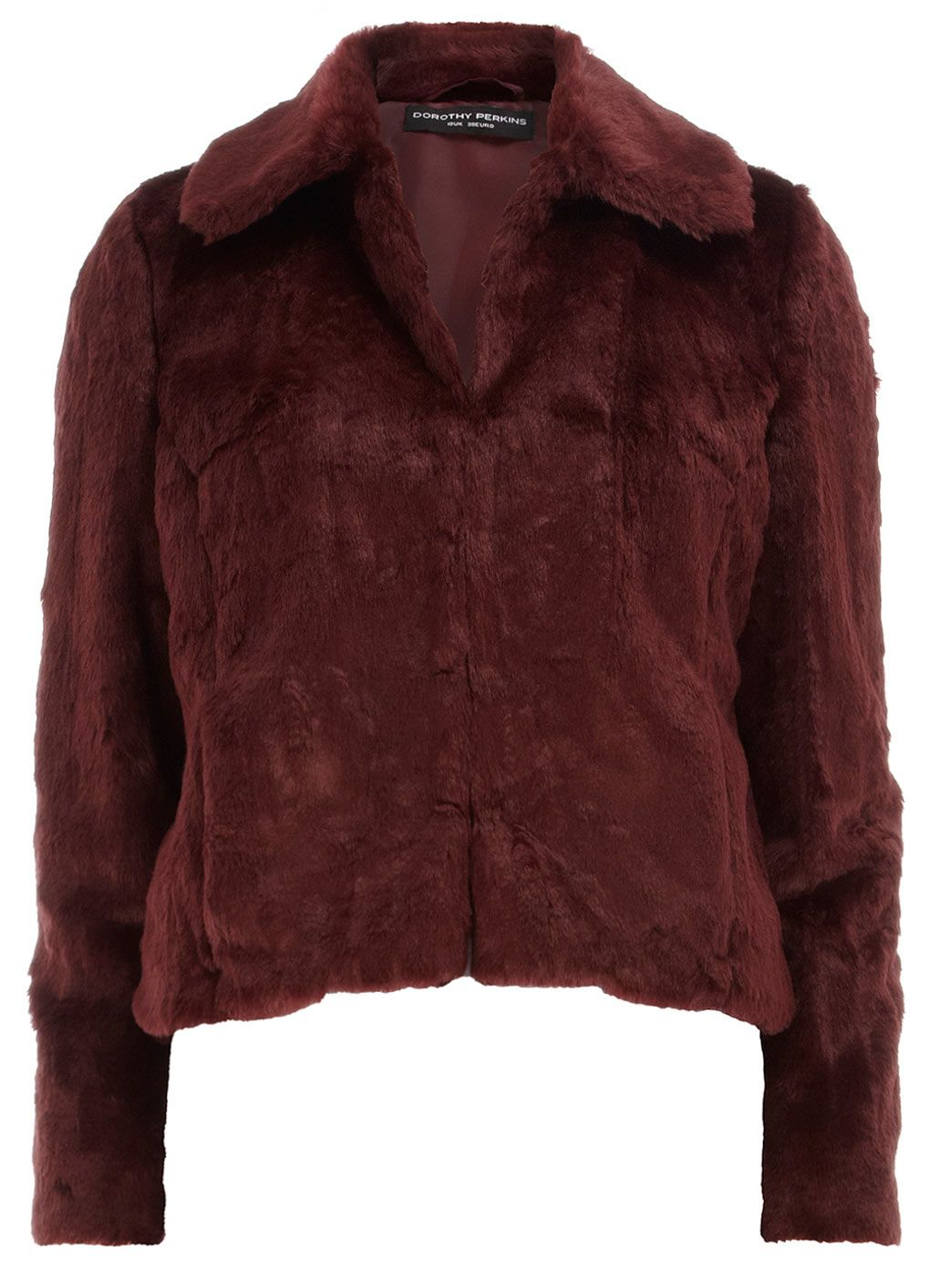 Red chubby fur jacket: Add some sophistication with this red coloured faux fur jacket with a hook and eye fastening. In a slightly cropped style with long sleeves and collar this jacket has a classic shape, perfect to layer over a simple top.
