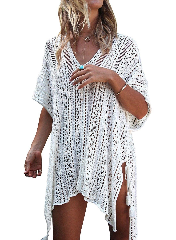 Women s Bathing Suit Cover Up Bikini Swimsuit Swimwear Crochet Dress - A- white - CN187UAQS5D 9dc8107b53