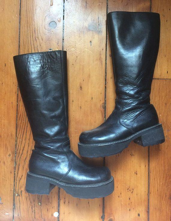 03df0c5beb1 John Fluevog Black Leather Knee High Boots Bond Girl Platform ...