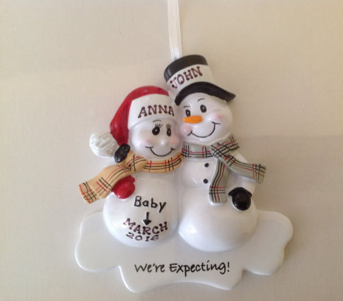 Personalized Christmas Ornament Pregnant Snowman Couple,Expecting Parents  Mom to be, Dad to be - Personalized Christmas Ornament Pregnant Snowman Couple,Expecting