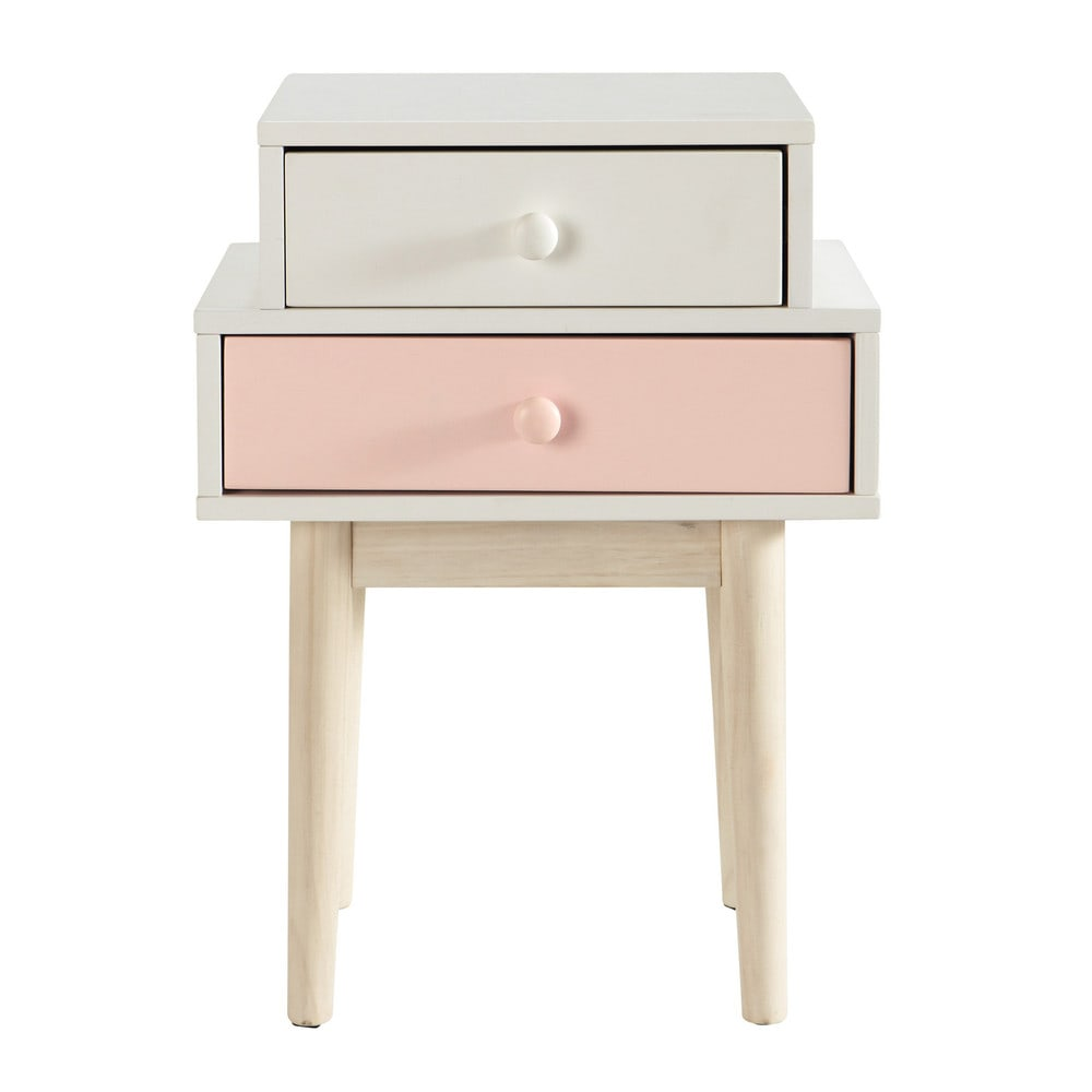 2 Drawers White And Pink Bedside Table Decore Pink