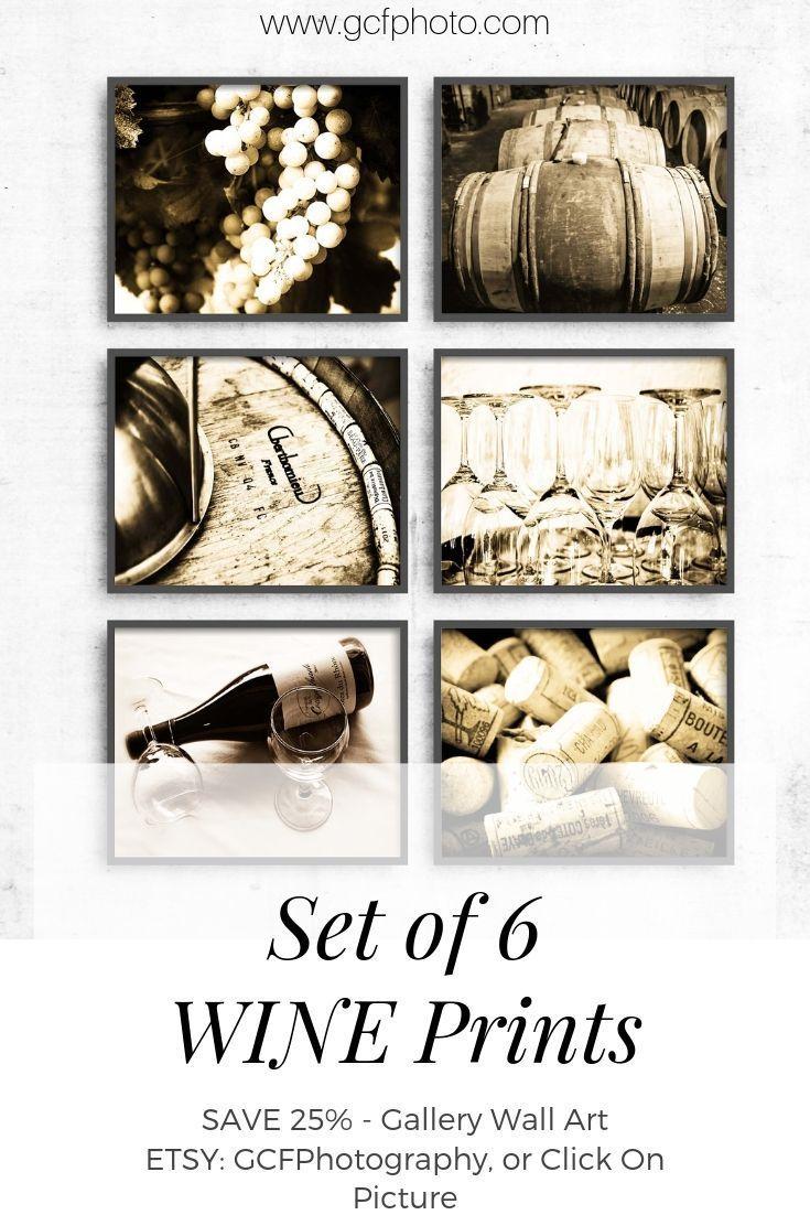 Wine Decor Print Set of 6 in Sepia Warm Brown, Rustic