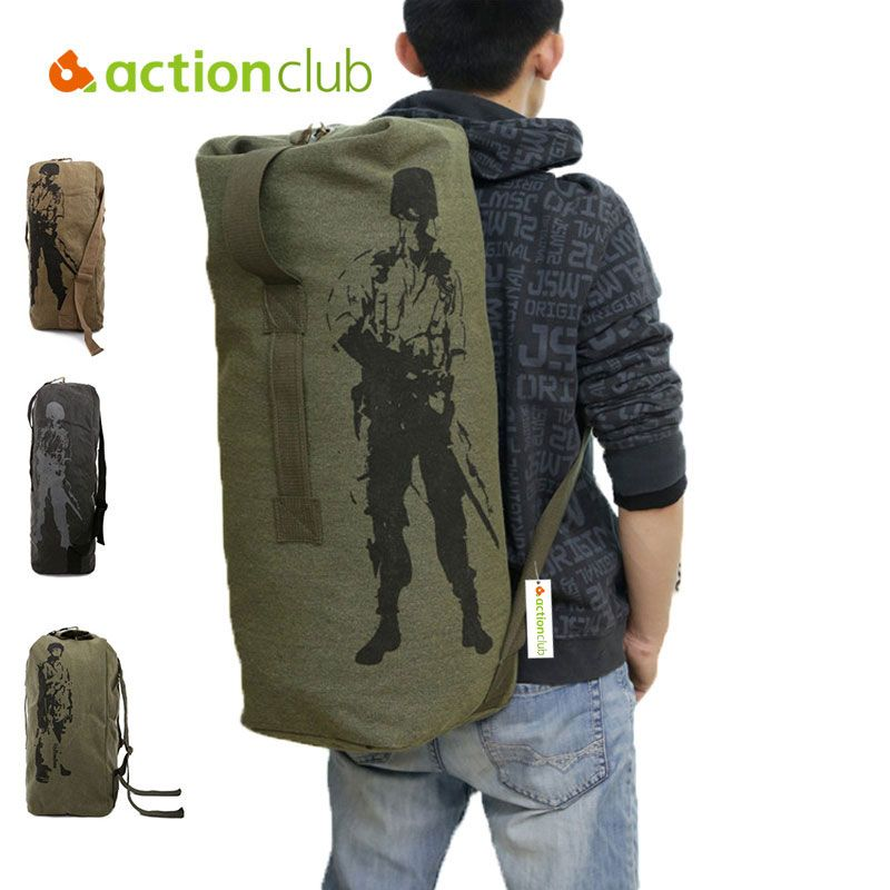 e5e60d7fb Actionclub Outdoor Travel Luggage Army Bag Canvas Hiking Backpack Camping  Tactical Rucksack Men Military Backpack mochila SH360