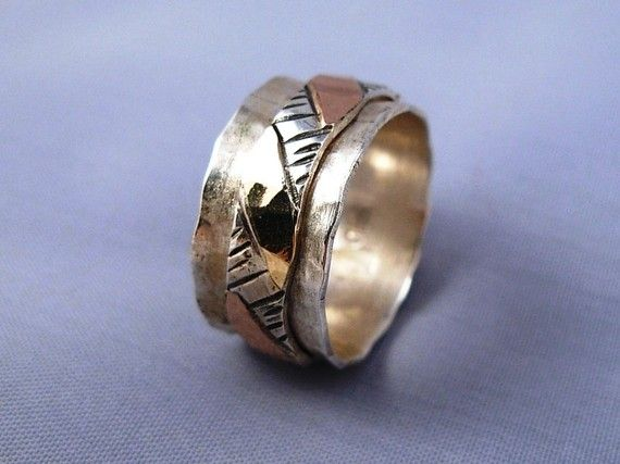 Hammered Spinning Silver Gold 9K Ring  ElenadE  R1119 by ElenadE, $165.00