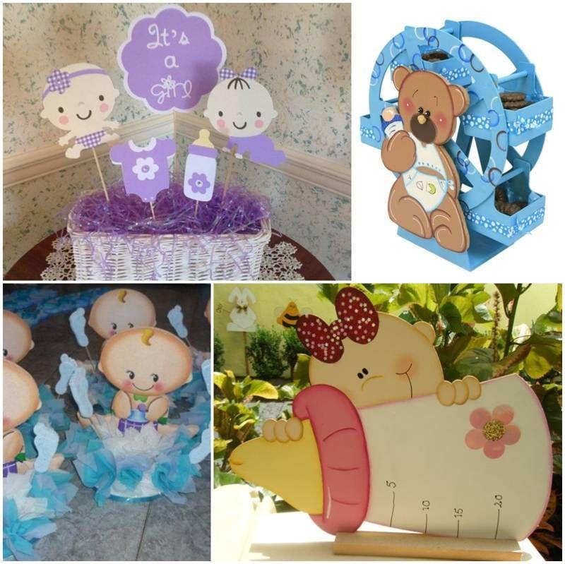 Centros de mesa para baby shower en foami bautizo - Adornos baby shower nino ...