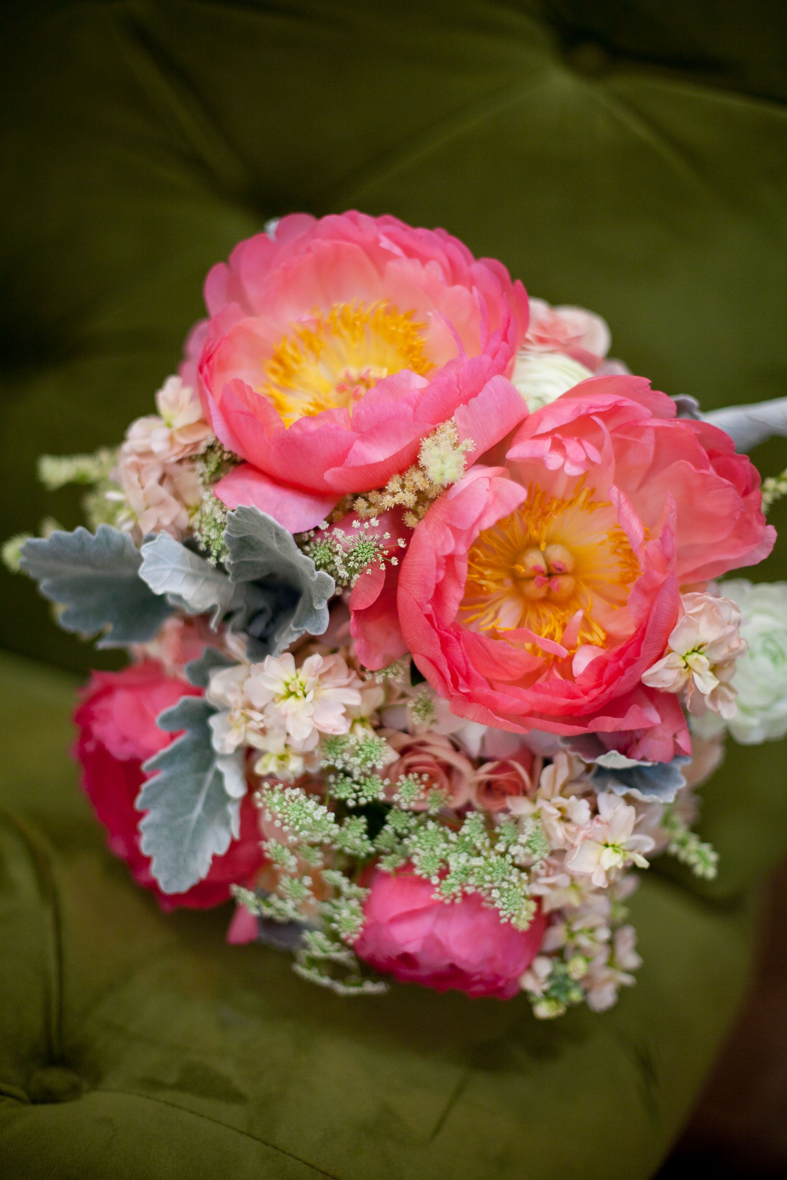 Bright Coral Pink Peony Bridal Bouquet