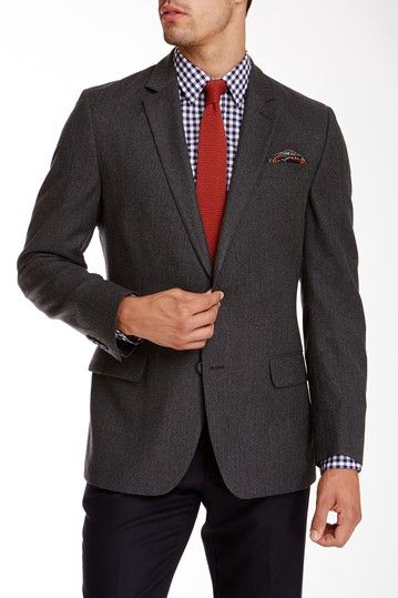 The Brentwood Charcoal Herringbone Two Button Notch Lapel Wool Jacket