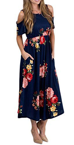 1f66e7b5d6c Sibylla Women's Floral Print Off Shoulder Swing Dress Short Sleeve Plus  Size Dress with Side Pockets