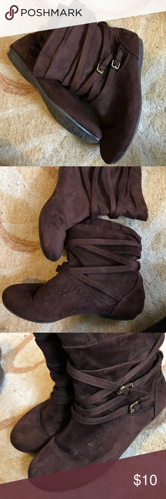 Adorable Brown Seude Booties Lightly worn but in great condition! No major signs of wear. Very comfortable soles- these look great on a variety of outfits! True to size. I don't think the outside is true seude but it looks like it and it has proved to be very durable! Ask me any questions! Willing to drop price with bundle. So Shoes Ankle Boots & Booties