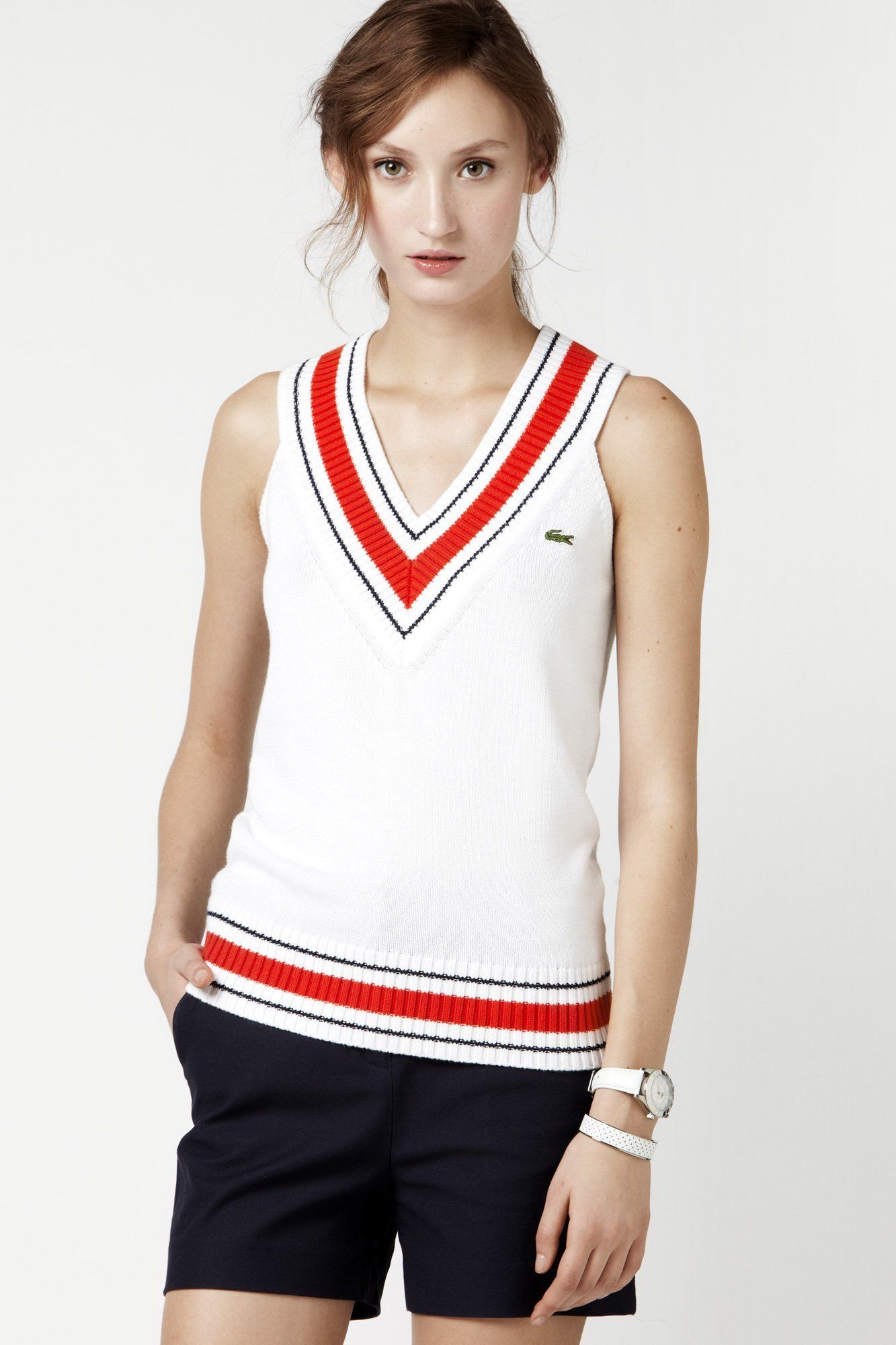 Lacoste Sleeveless Cotton V-neck Tipped Sweater Vest : Sweaters ...
