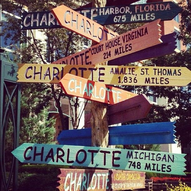 Charlotte to anywhere! This is so cute since its my name!!!! Need t make this sign!!!
