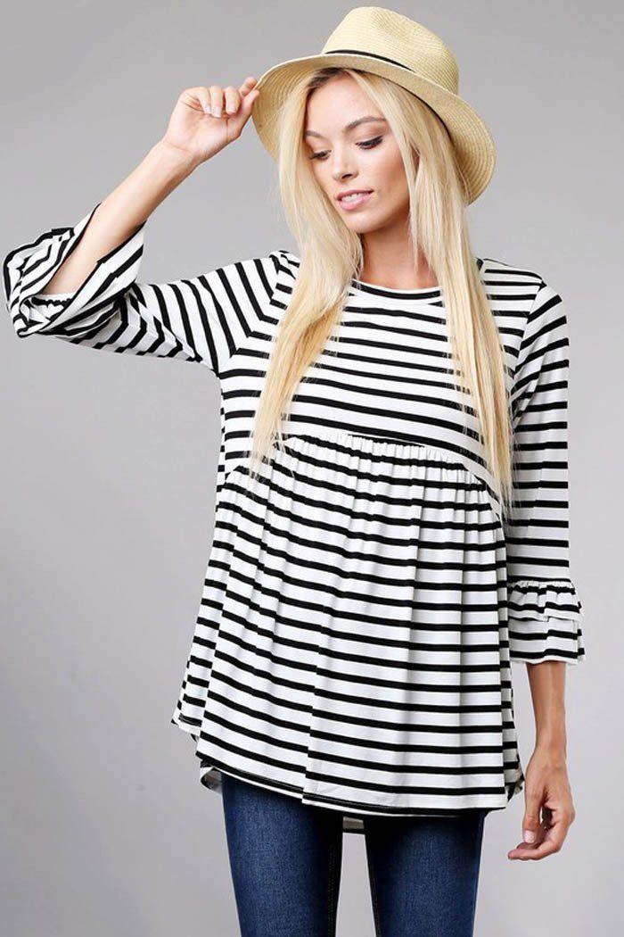 8eb71b54b11d2 Striped Babydoll Top - Ivory Black