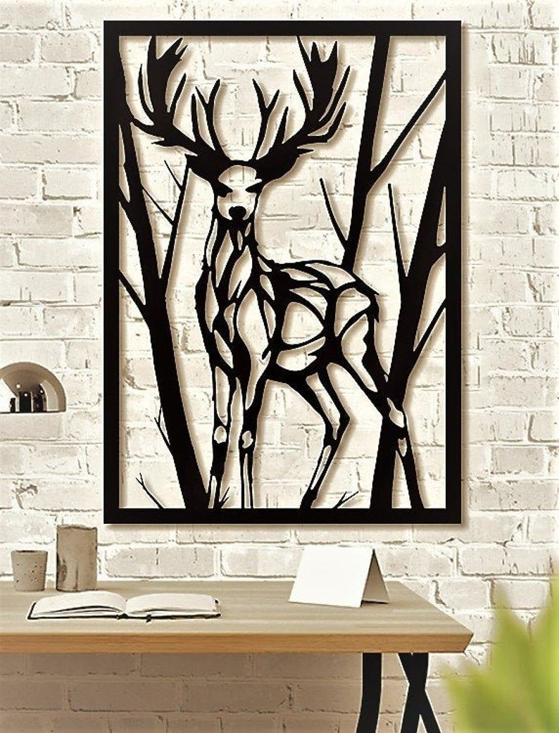 Deer Metal Wall Art Metal Wall Sculpture The Deer Metal Etsy Metal Wall Sculpture Wall Sculptures Metal Tree Wall Art