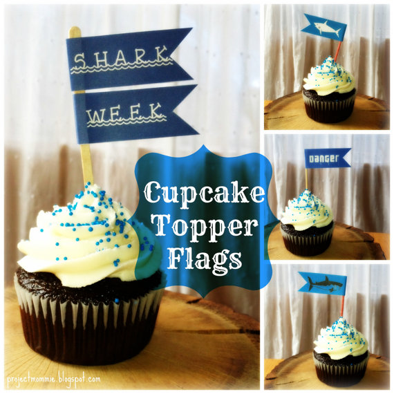 PDF: Shark Week Flag Cupcake Topper Template with Instructions - Digital File DIY Shark Week #sharkweekfood
