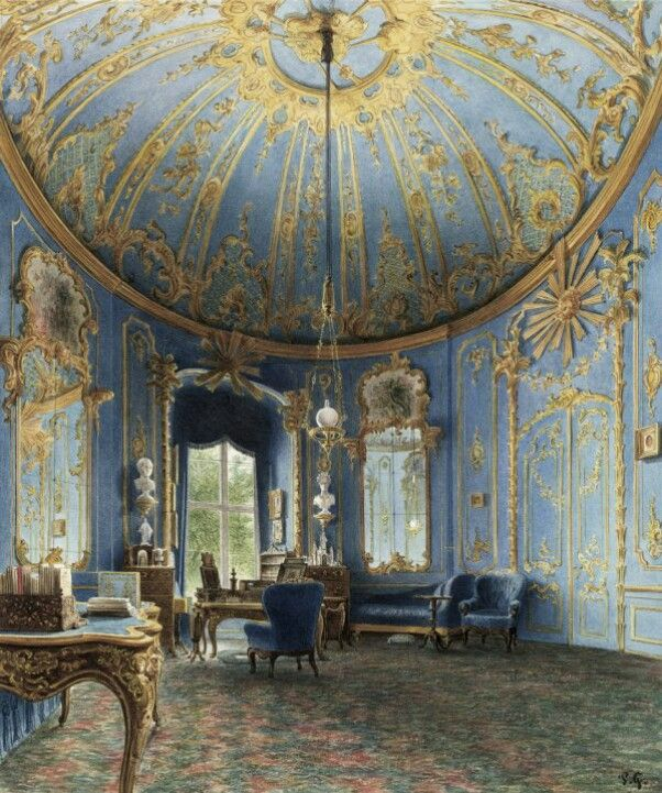 Here the bureau of Frederick the Great in the Berlin Citypalace, a watercolour from the 19th century, a room created by Knobelsdorff and Nahl too (1742).