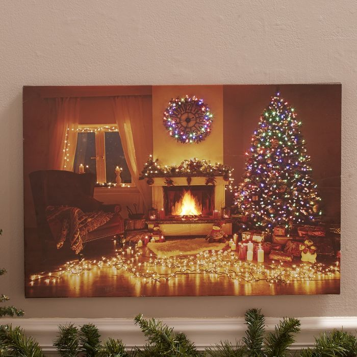 Lakeside Lighted Holiday Canvas Wall Art Christmas Decor With Fiber Optics Fireplace In 2020 Holiday Canvas Canvas Wall Art Christmas Canvas