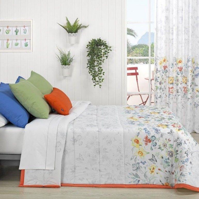 Sibiles Colcha Bouti de Verano para Cama Estampada con Cojines Hojas y Flores Garda 180x270 cm - Cama 90
