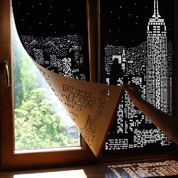 Modern Blackout Curtains Turn Windows Into Penthouse Views Of A City
