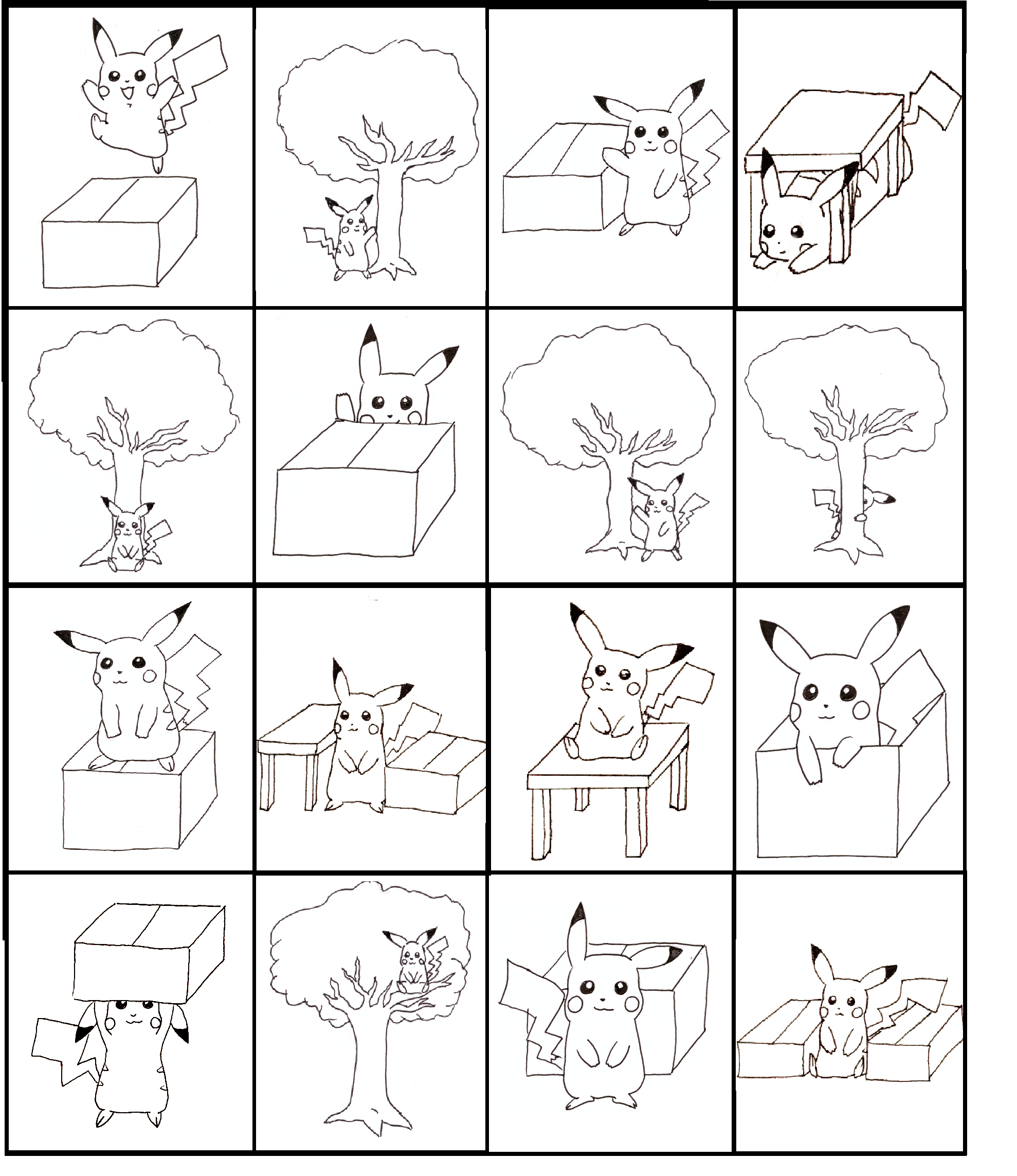 Pikachu Bingo Practicing Prepositions Board 1 Of 4 Made