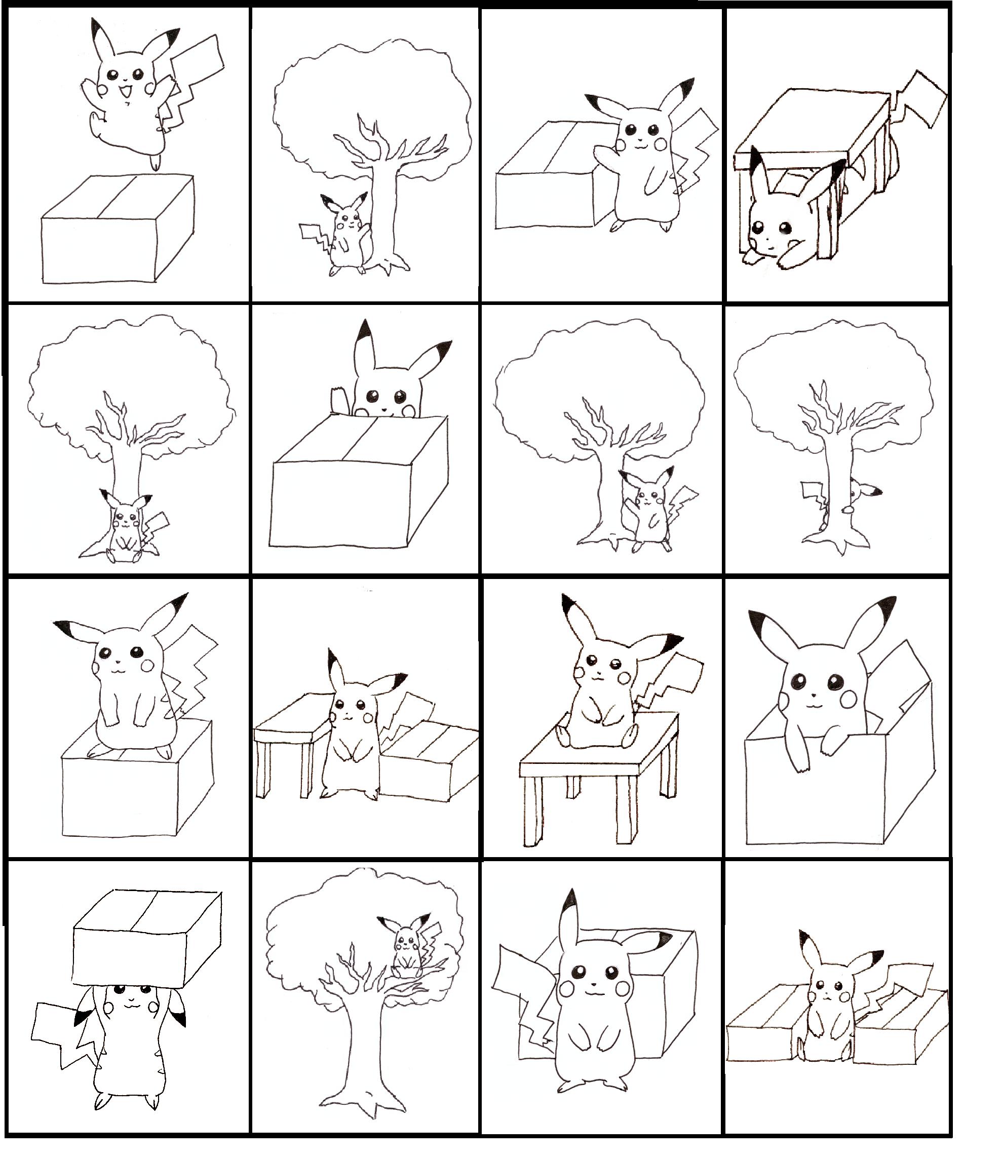 Pikachu Bingo Practicing Prepositions Board 1 Of 4 Made
