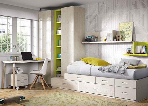 dormitorio juvenil con cama modular armarios y zona estudio