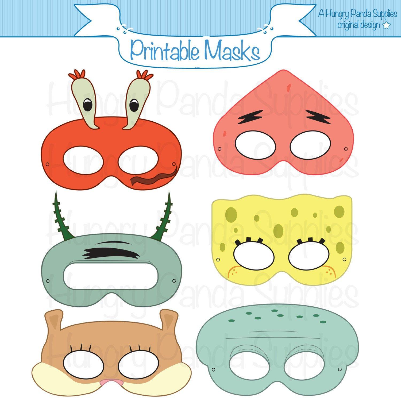 Sponge Printable Masks Squid Mask Starfish Mask Squirrel Mask