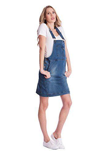 58d21b0df6a46 Seraphine Alliah Denim Dungaree Maternity Dress Light Vintage 8 ...