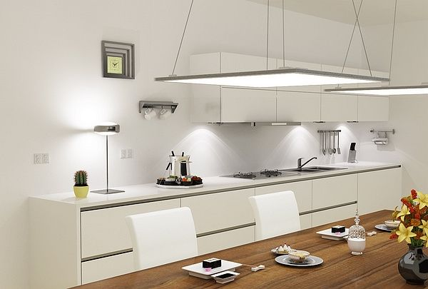 Led Panel Light Fixtures Modern And Efficient Home Lighting Ideas Modern Kitchen Lighting Modern Kitchen White Modern Kitchen