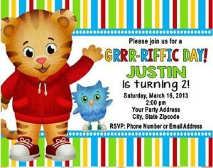 Daniel the Tiger Neighbohood Birthday Party Invitations Personalized Custom