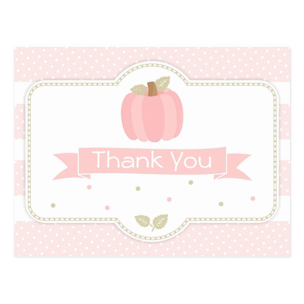 Pink Pumpkin Baby Shower Thank You Postcard