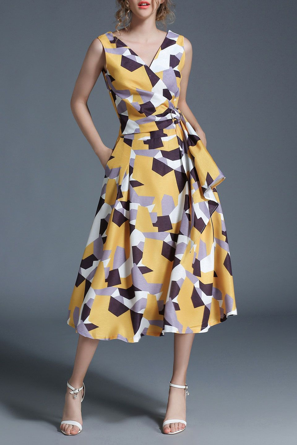 359d0916a5a Vicky and Lucas - Layer Front V-Neck Fit and Flare Printed Dress in Yellow