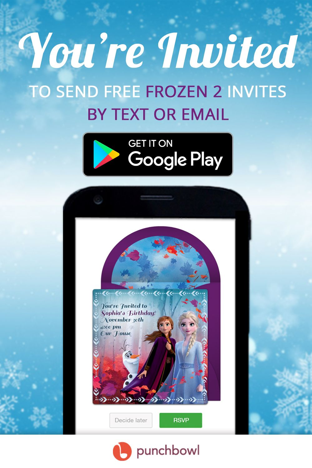 Send free Frozen invitations by text message right from