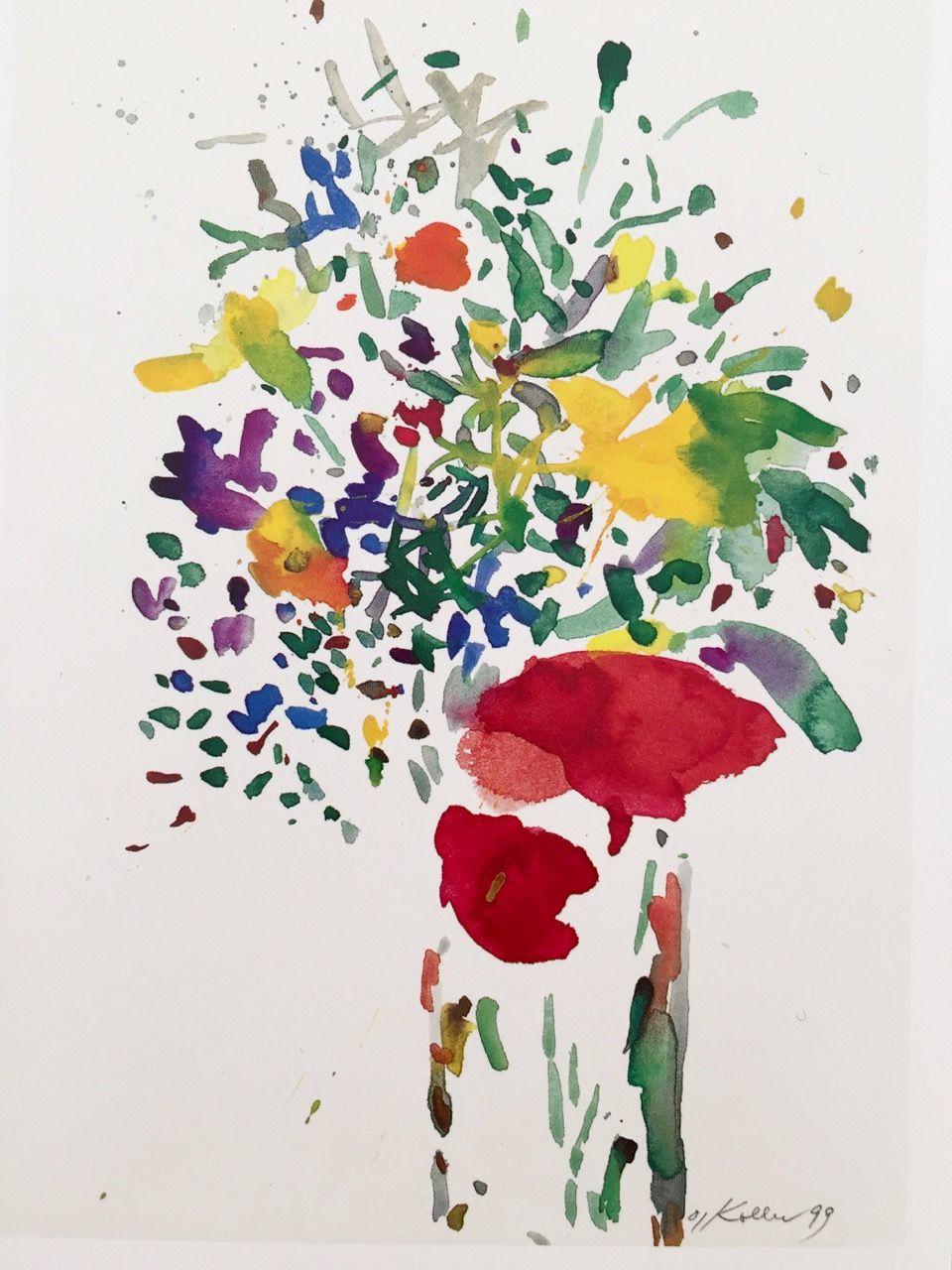 Oskar Koller Fruhlingsstrauss Watercolor Flowers Abstract