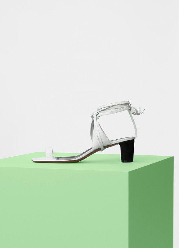 Toe Ring Sandal 50 in Optic White Kidskin - Céline