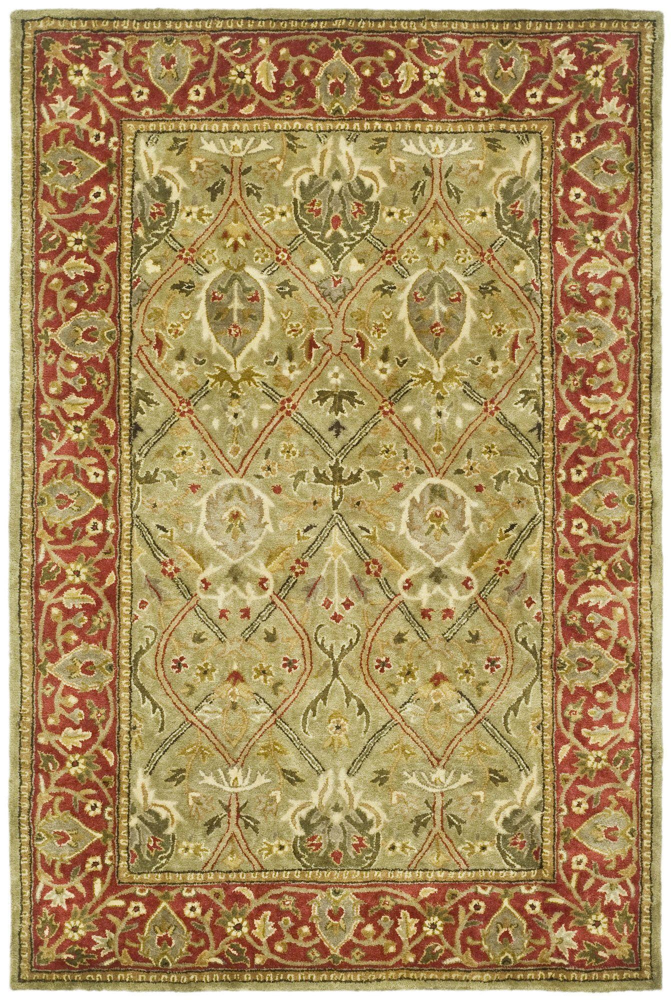 Parvati Green Rust Oriental Wool Hand Tufted Area Rug Oriental