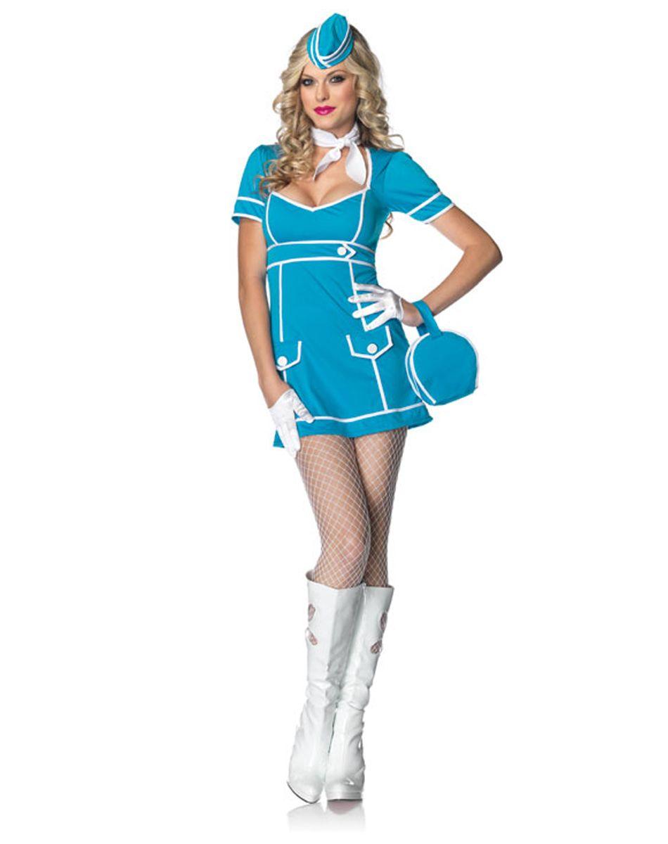 Pan Am Stewardess Costume - 5 PC. Retro Flight Attendant Halloween ...