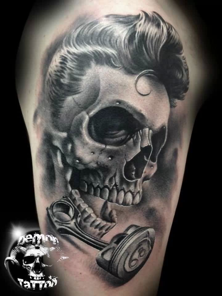 Realistic 3d Demon Skull Tattoo Design Rockabilly Tattoos Chest Tattoo Drawings Skull Tattoos