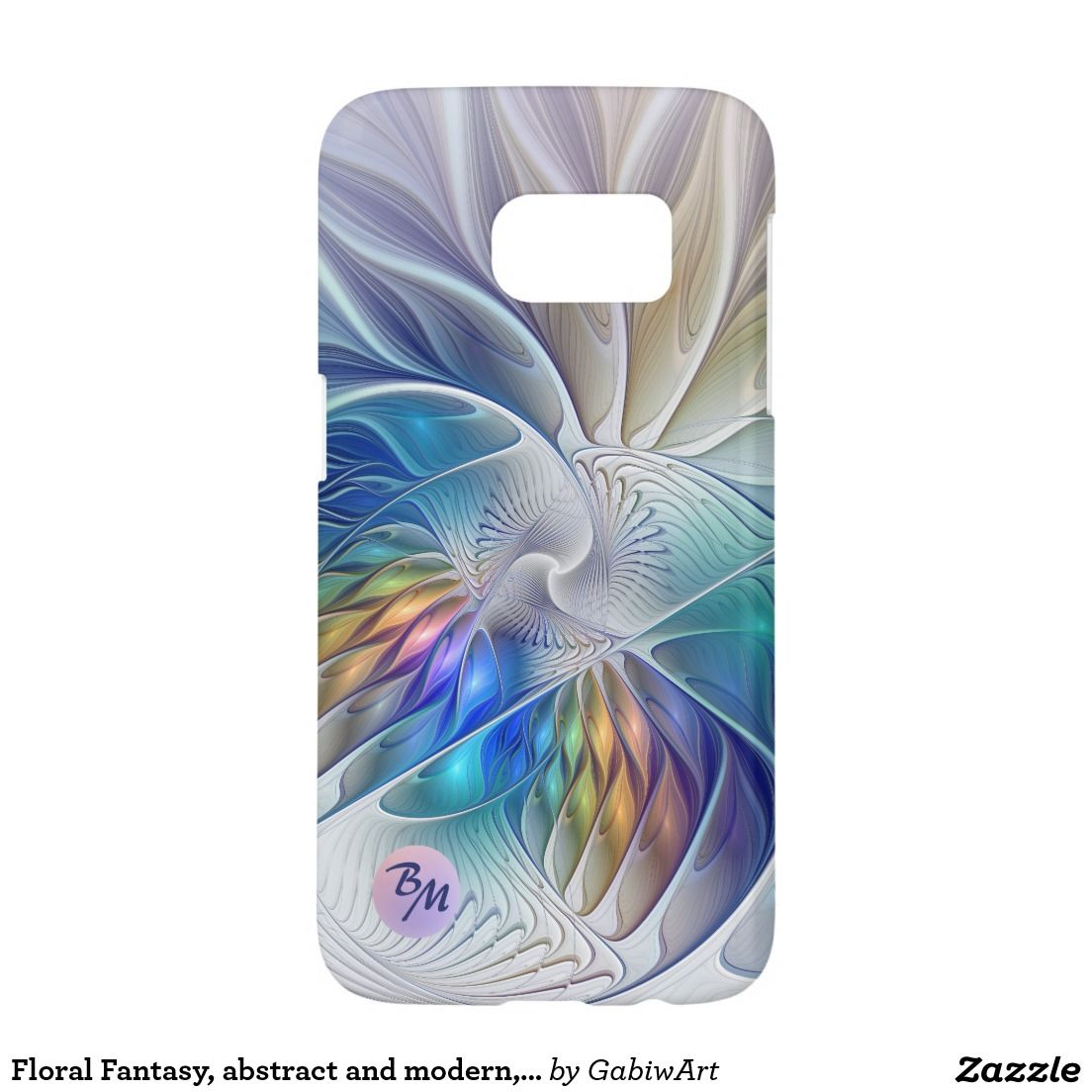 Floral Fantasy, abstract and modern, Monogram Samsung Galaxy S7 Case