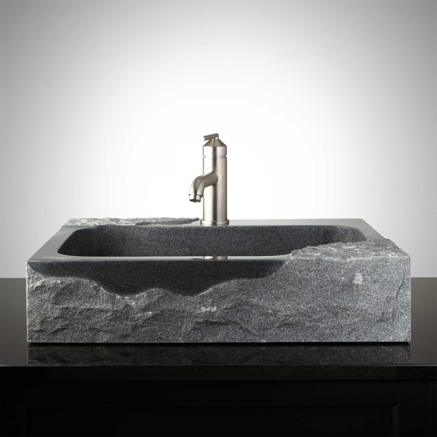 Brilliant Rectangular Granite Vessel Sink With Chiseled Exterior And Home Interior And Landscaping Eliaenasavecom