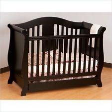 Stork Craft Vittoria 3-in-1 Convertible Dark Wood Tone Crib package.&bedding set