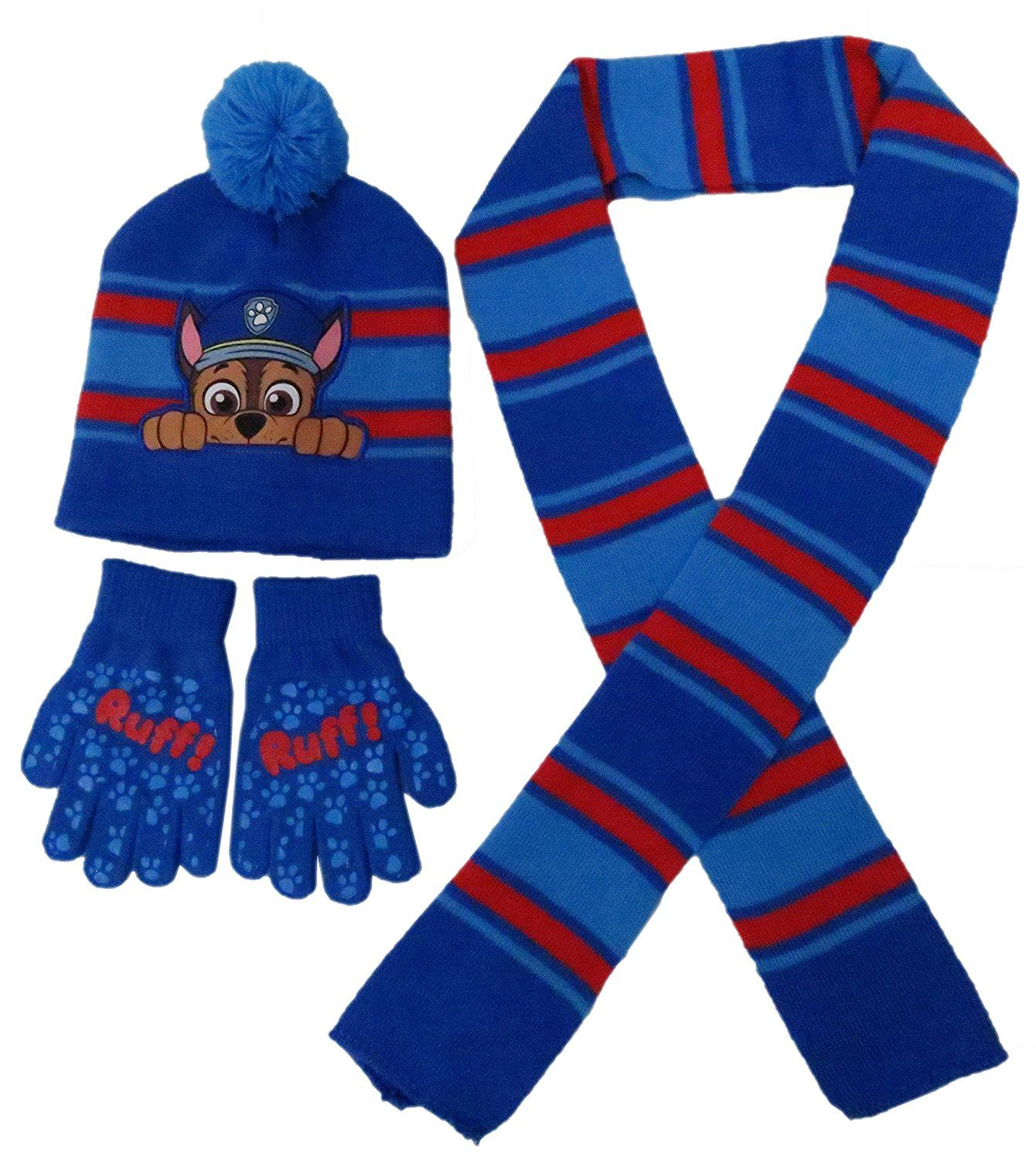 ce512436d Amazon.com: Nickelodeon Paw Patrol Chase Hat Scarf and Glove Set ...
