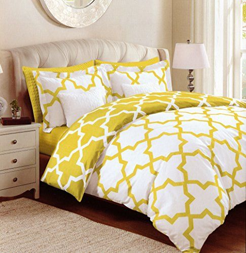 Max Studio Lattice Quatrefoil Pattern Full Queen Duvet Cover And Shams Set Mustard Yellow White