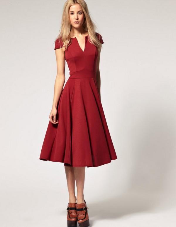 e6b619e3dba повседневное платье средней длины с расклешенной юбкой
