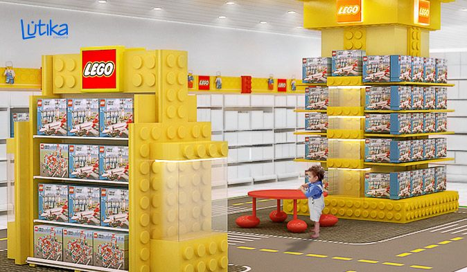 Espaço temático para interação de crianças com os produtos da marca Lego