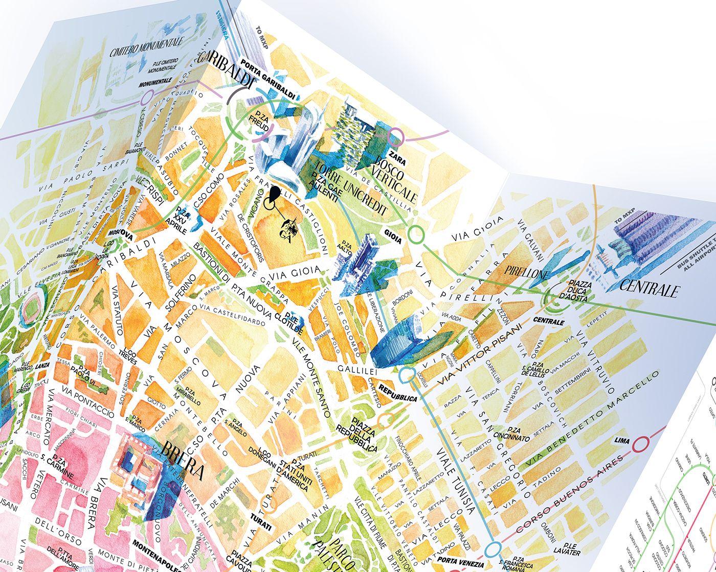 Milan Map Watercolour On Behance Maps In 2019 Milan Map