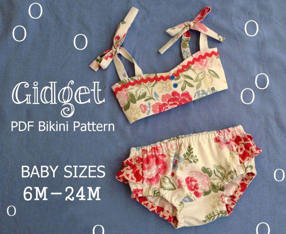 Gidget Baby-Bikini-Schnittmuster. Retro von RubyJeansCloset | Baby ...