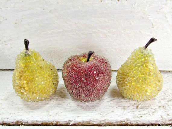 Vintage Sugared Fruit Mini Small Decorative Artificial Fake Home Kitchen Table Decor 1960s Christmas Holiday Decoration By Redgarnetvintage