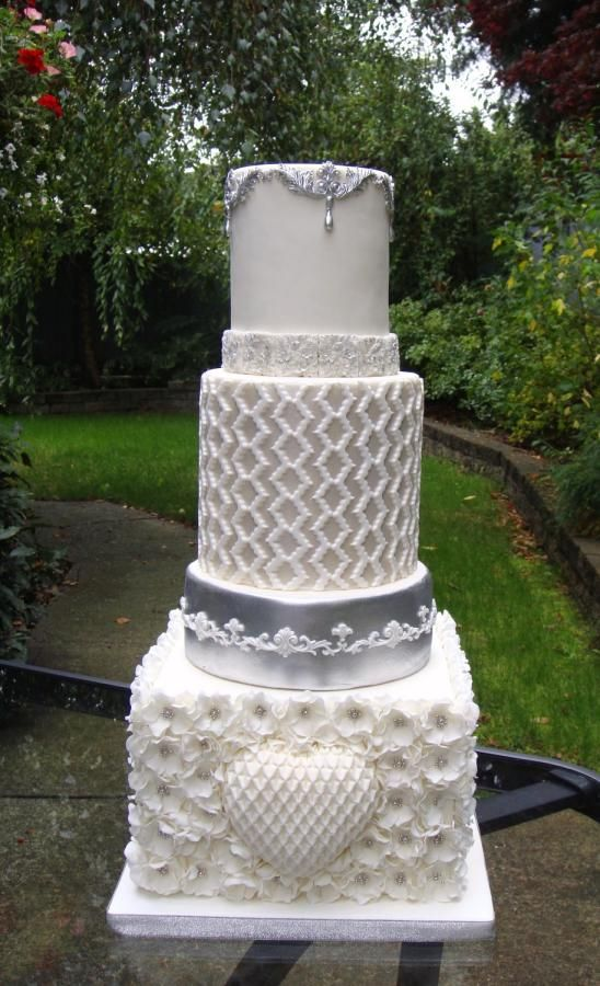 White and Silver wedding cake  by Nadia - http://cakesdecor.com/cakes/213337-white-and-silver-wedding-cake