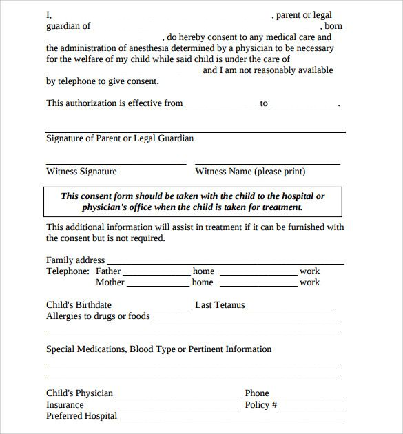 Sample Medical Authorization Form Medical Treatment Authorization - Letter Of Authorization Form