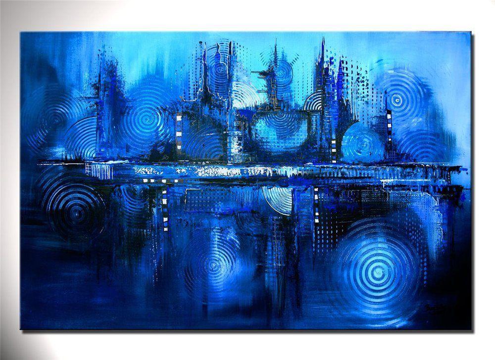 burgstaller original xxl gem lde kunst bilder abstrakt malerei leinwand blau dee blue. Black Bedroom Furniture Sets. Home Design Ideas
